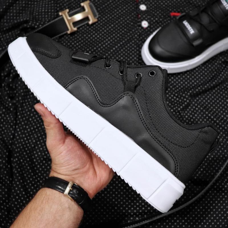 Мужские кроссовки lacoste black white - Фото 2