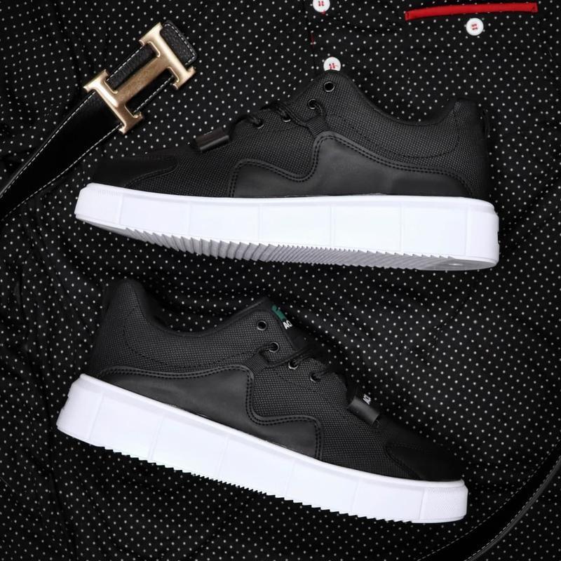 Мужские кроссовки lacoste black white - Фото 4
