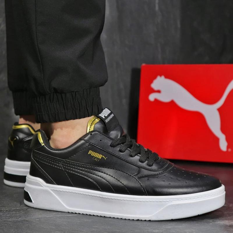 Мужские кожаные кроссовки puma black gold - Фото 2