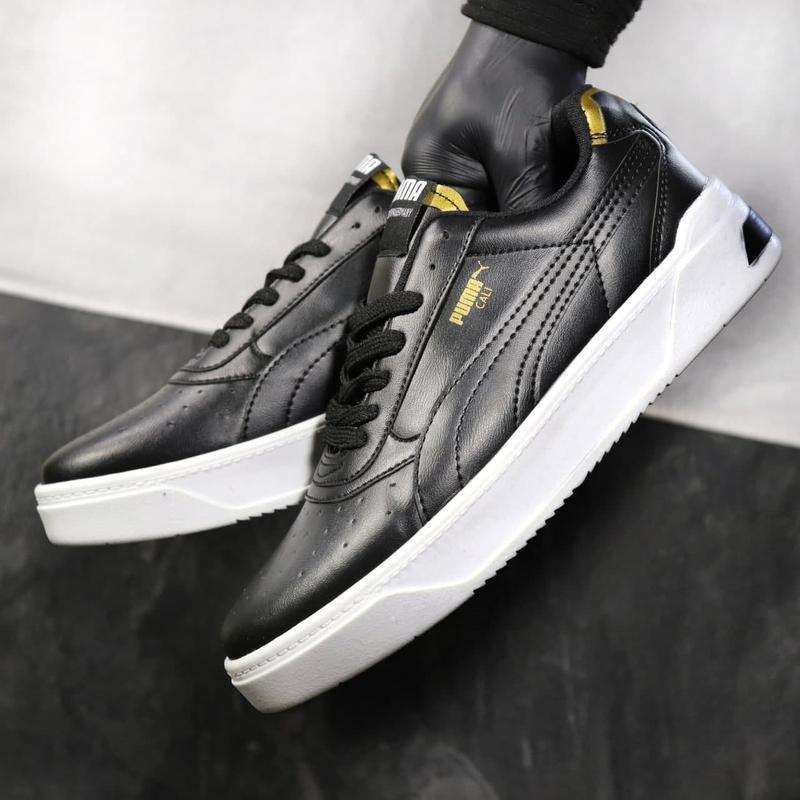 Мужские кожаные кроссовки puma black gold - Фото 3