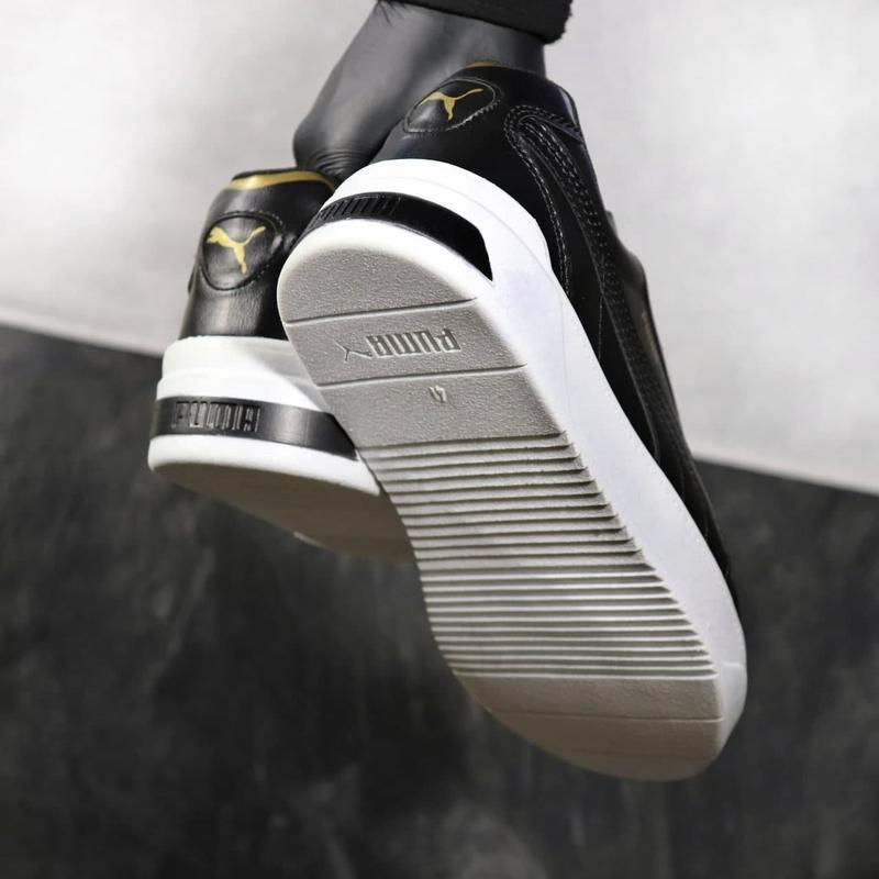 Мужские кожаные кроссовки puma black gold - Фото 4