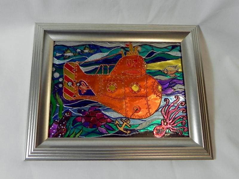 Витражная картина «Оранжевая субмарина» - Фото 2