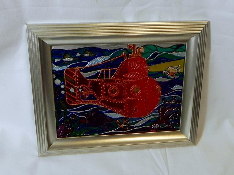 Витражная картина «Оранжевая субмарина» - Фото 3