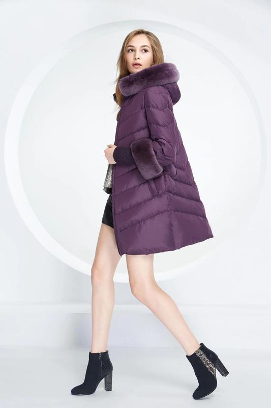 S ( 42/44) роскошный стильный пуховик пальто 90% пух  лилового... - Фото 2