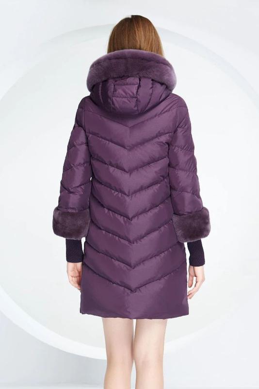 S ( 42/44) роскошный стильный пуховик пальто 90% пух  лилового... - Фото 3