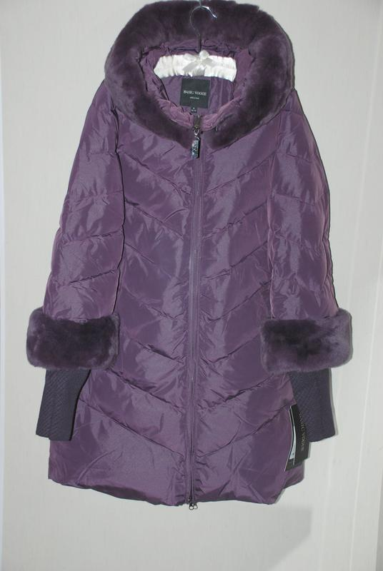 S ( 42/44) роскошный стильный пуховик пальто 90% пух  лилового... - Фото 4