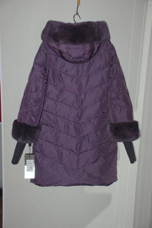 S ( 42/44) роскошный стильный пуховик пальто 90% пух  лилового... - Фото 5