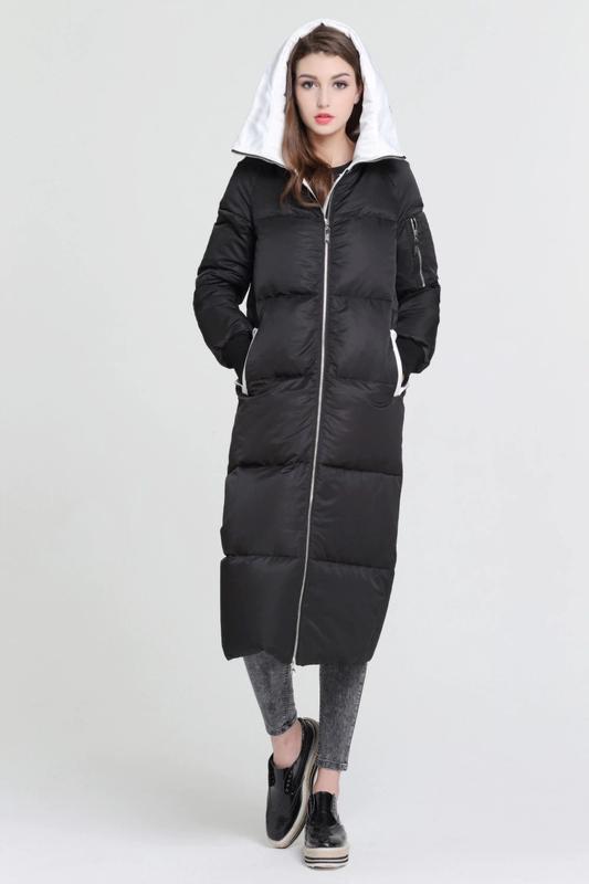 L / 46-48 длинный зимний стильный пуховик кокон одеялко  basic... - Фото 7