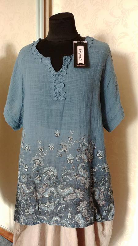 Италия натуральная свободная блуза рубашка туника хлопок марле...