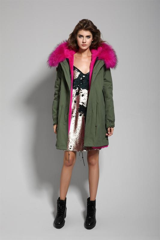 Зимняя парка / куртка натуральный мех енота /подстежка натурал...