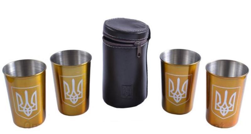 """Рюмки из нержавеющей стали в кожаном чехле """"Украина"""" (Золото, ..."""
