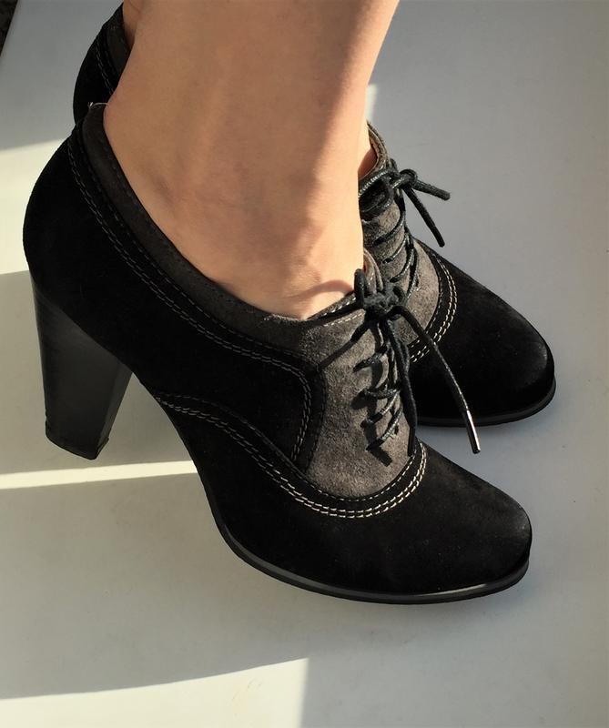 Кожаные туфли ботильоны respect, ботинки на каблуке замшевые