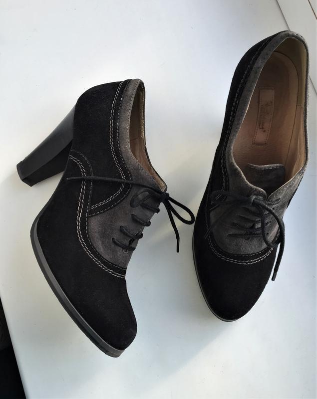 Кожаные туфли ботильоны respect, ботинки на каблуке замшевые - Фото 2