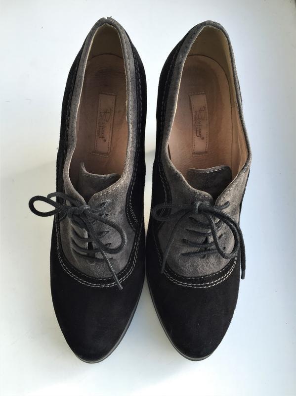Кожаные туфли ботильоны respect, ботинки на каблуке замшевые - Фото 3