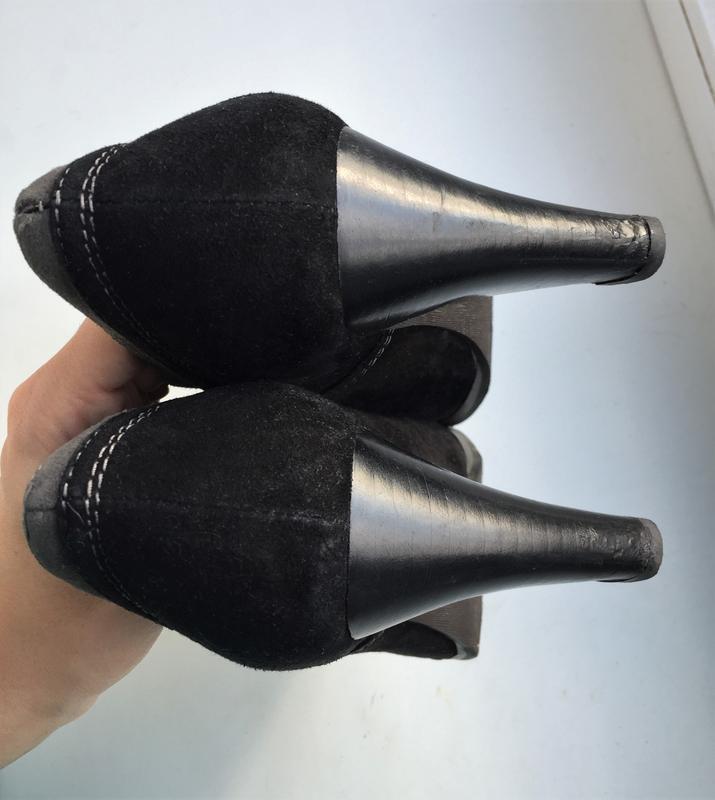 Кожаные туфли ботильоны respect, ботинки на каблуке замшевые - Фото 4