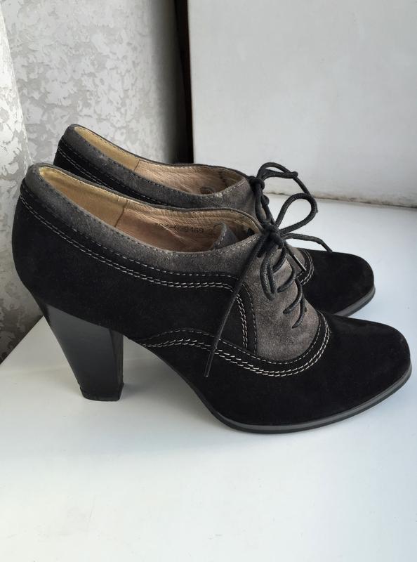 Кожаные туфли ботильоны respect, ботинки на каблуке замшевые - Фото 5