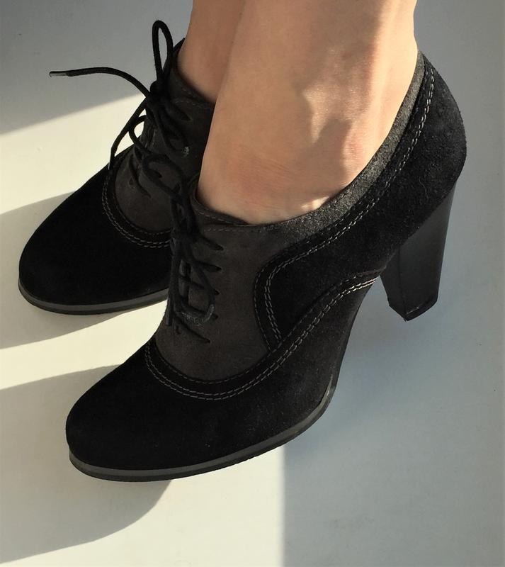 Кожаные туфли ботильоны respect, ботинки на каблуке замшевые - Фото 6