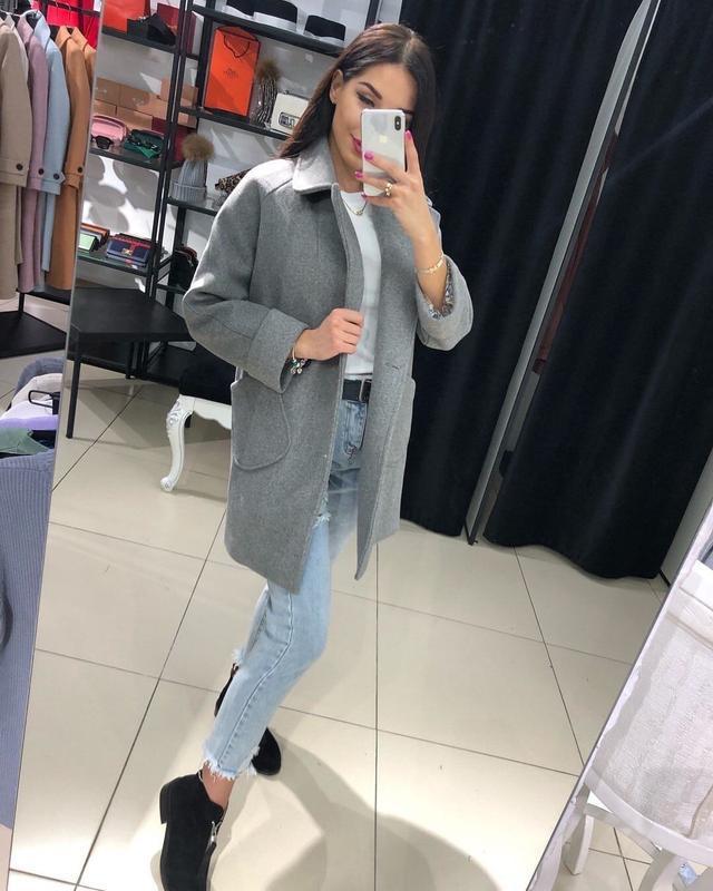 Пальто кашемир с накладными карманами