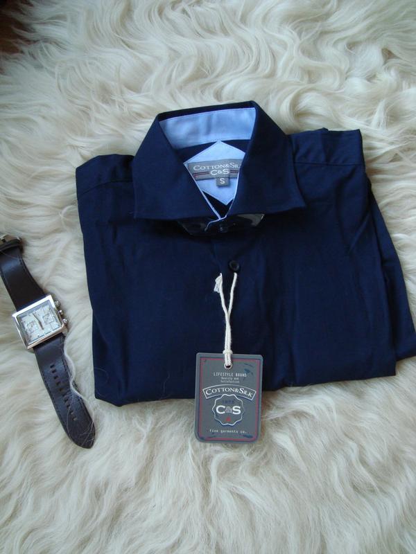 Рубашка мужская, c&s, италия, синяя, закупка 20€