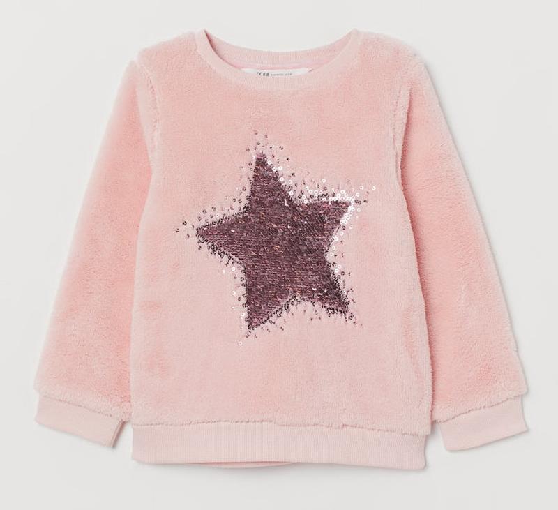 """H&m флисовый свитшот """"звезда"""" с пайетками"""