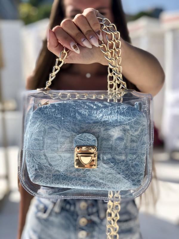 Маленькая силиконовая сумочка 2в1 с косметичкой голубой крокодил