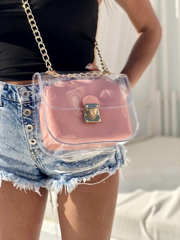 Маленькая силиконовая сумочка 2в1 с косметичкой пудрового цвета