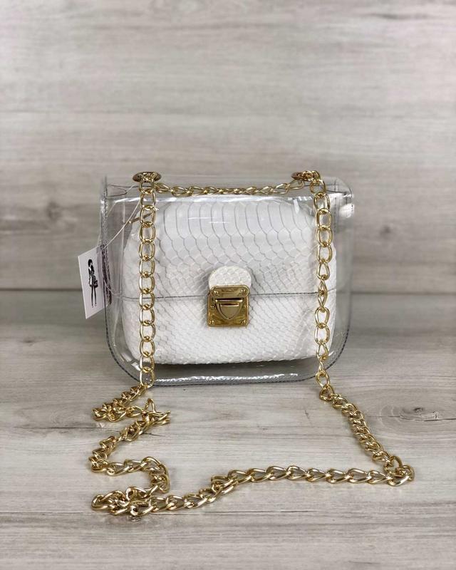 Маленькая силиконовая сумочка 2в1 с косметичкой белая рептилия