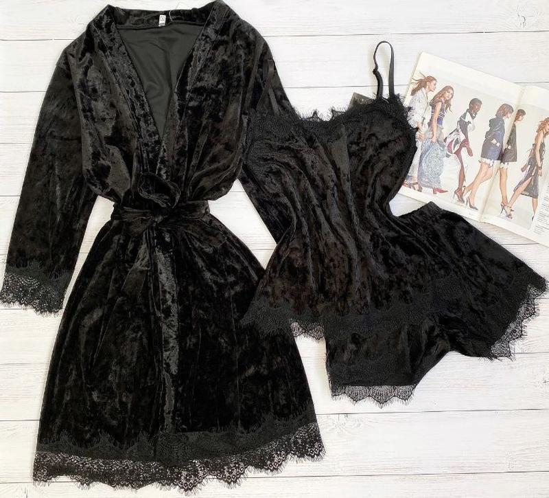 Комплект женский велюровый халат пижама шорты велюровая - Фото 2