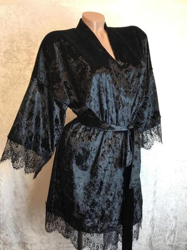 Комплект женский велюровый халат пижама шорты велюровая - Фото 3