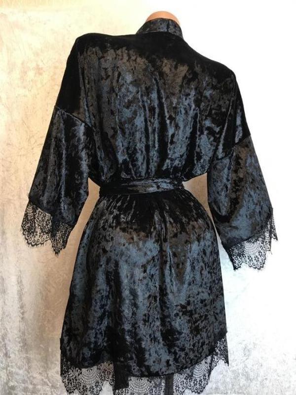 Комплект женский велюровый халат пижама шорты велюровая - Фото 4