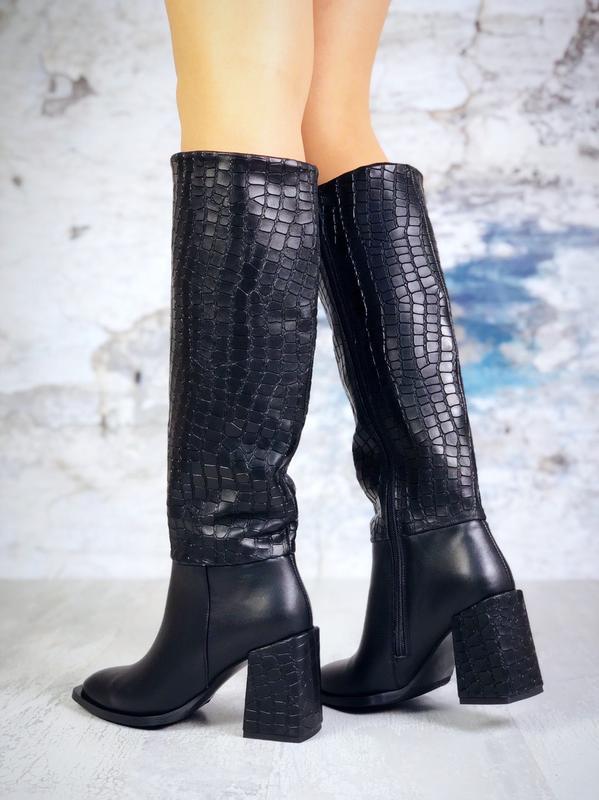 Натуральная кожа эффектные осенние сапоги на широком каблуке