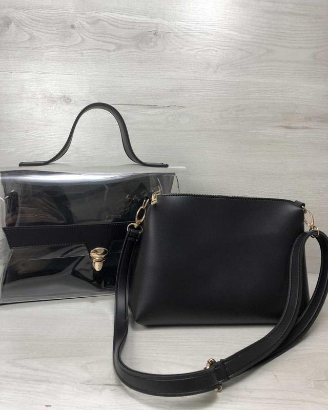 Набор 2в1 прозрачная сумка и косметичка-клатч черного цвета с ...