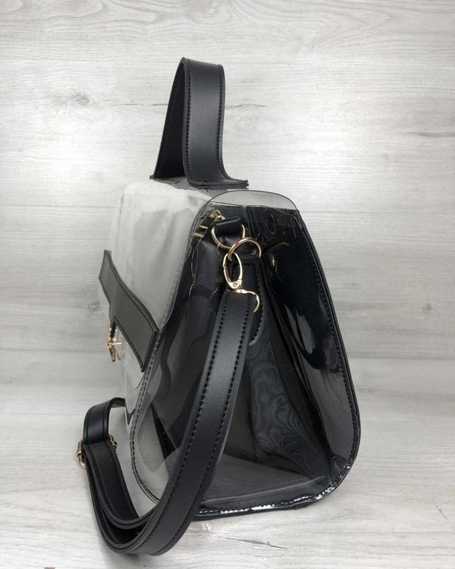 Набор 2в1 прозрачная сумка и косметичка-клатч черного цвета с ... - Фото 3