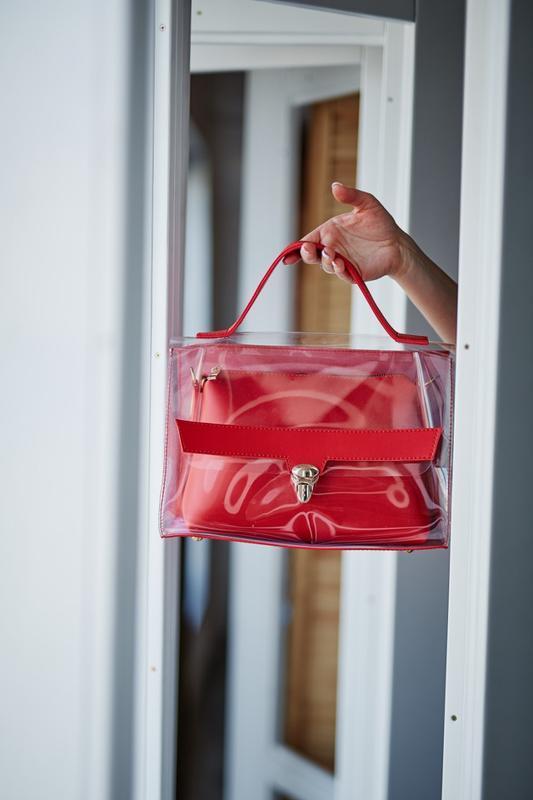 Набор 2в1 прозрачная сумка и косметичка-клатч красного цвета с...