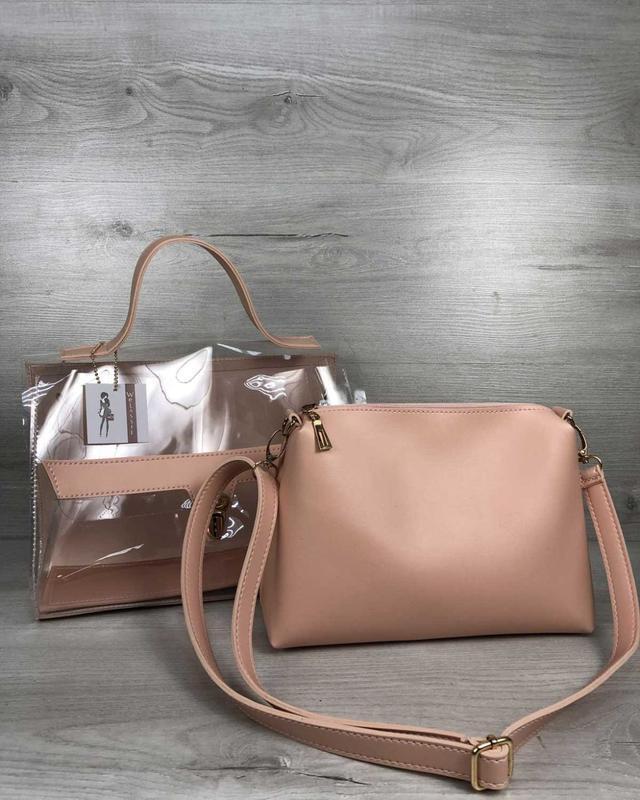 Набор 2в1 прозрачная сумка и косметичка-клатч пудрового цвета ...
