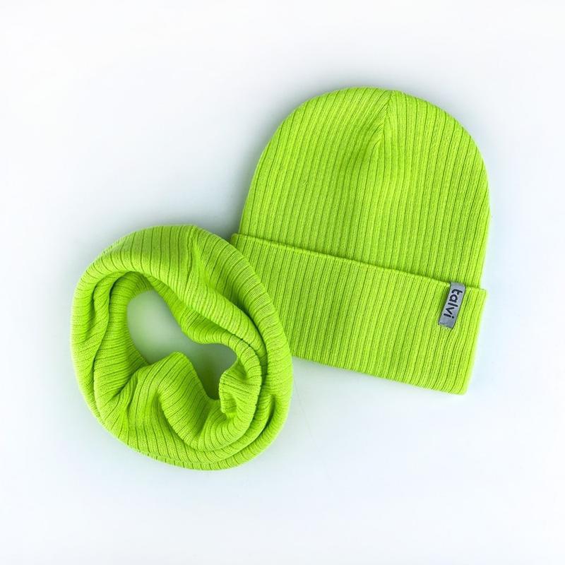 Комплект набор шапка хомут лимонный ???????? топ продаж