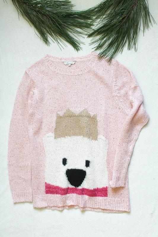 Женский розовый свитер с мишкой от peacocks (73), размер m-l