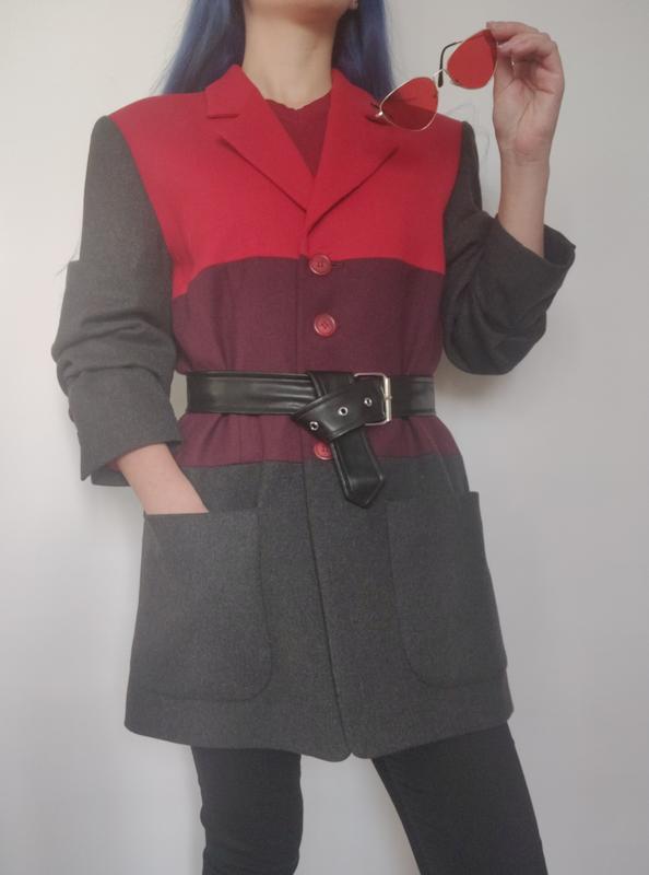 Винтажный пиджак с шерстью немецкого бренда apart, жакет серый...