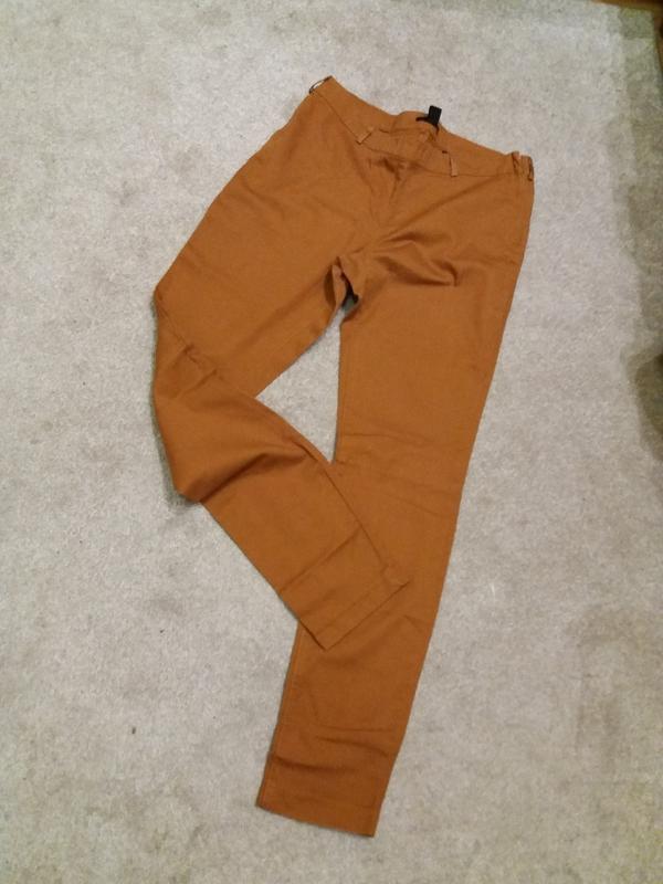 Рыжие скини брюки  теракотового  цвета  hm высокая посадка #305