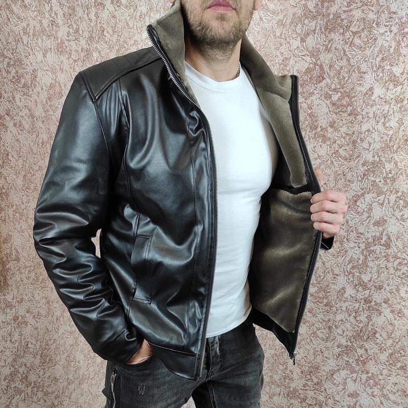 Зимняя кожаная куртка на меху - Фото 5