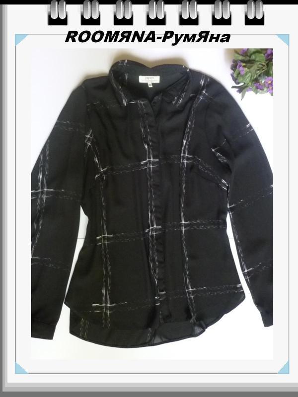 Рубашка блуза черная хороший большой размер условная клетка