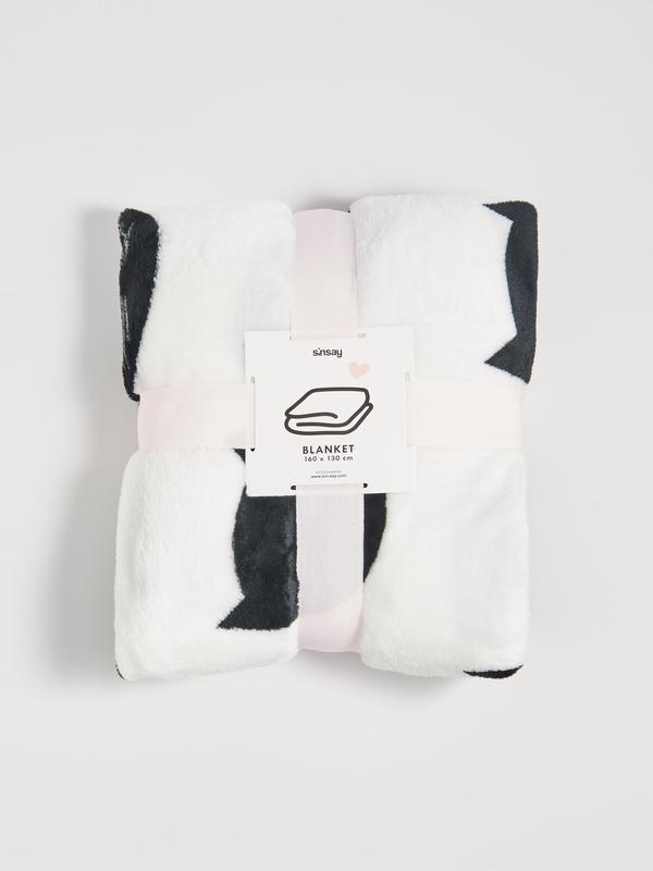 Новый белый плед одеяло покрывало польша черный узор принт кот...