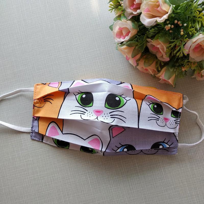 Детская маска с котами,хлопковая маска многоразового использов...