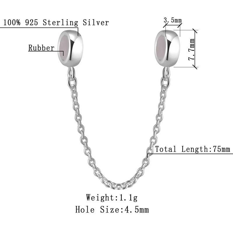 925 проба серебряная безопасная цепочка с  резиновыми пробками...