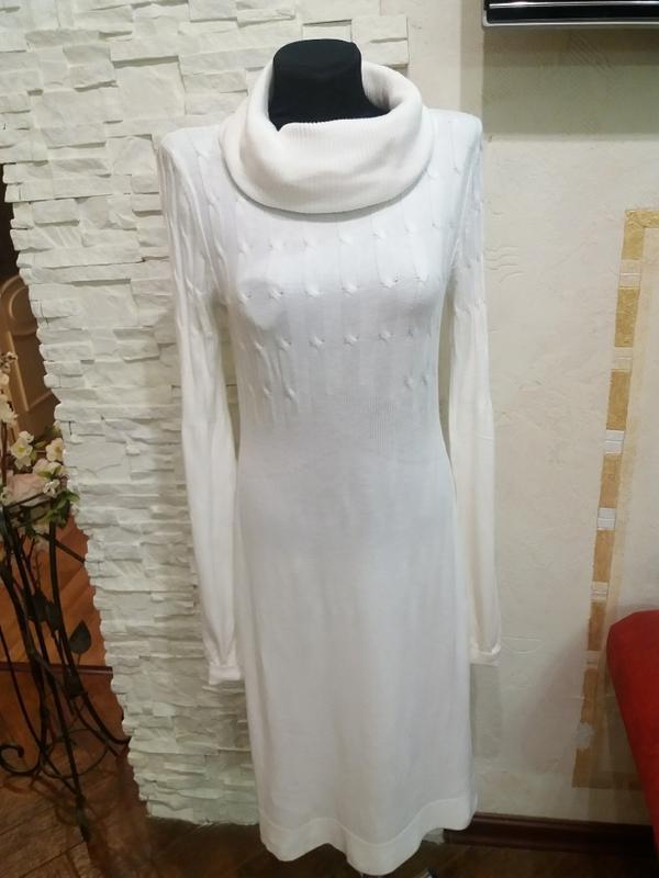 Тонкое шерстяное платье в косички. 40% шерсть ланы