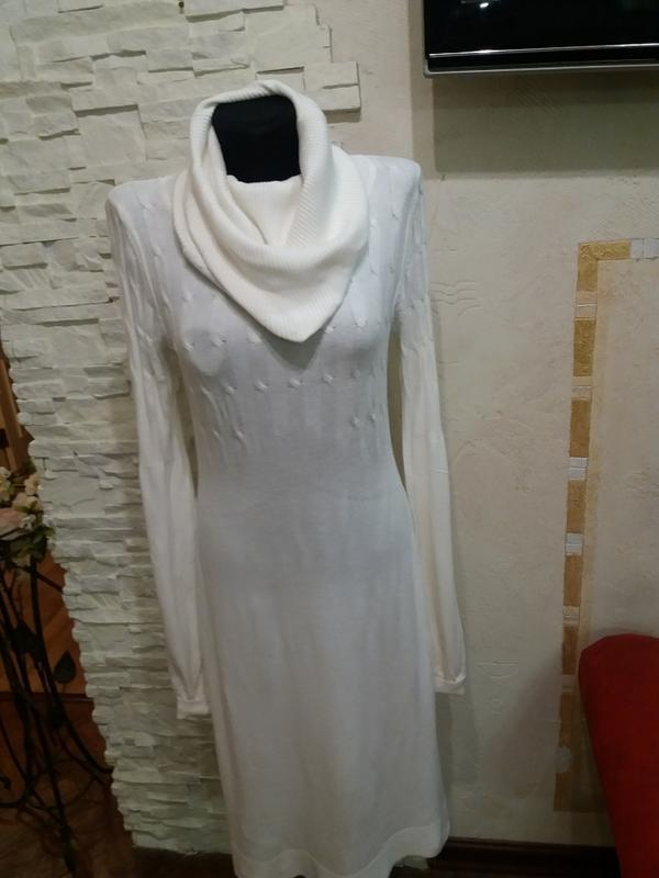 Тонкое шерстяное платье в косички. 40% шерсть ланы - Фото 2