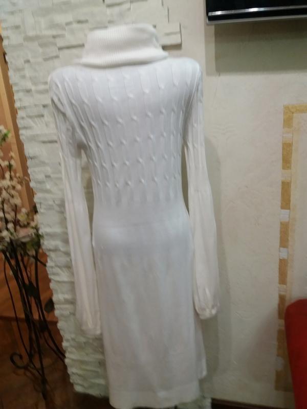 Тонкое шерстяное платье в косички. 40% шерсть ланы - Фото 3