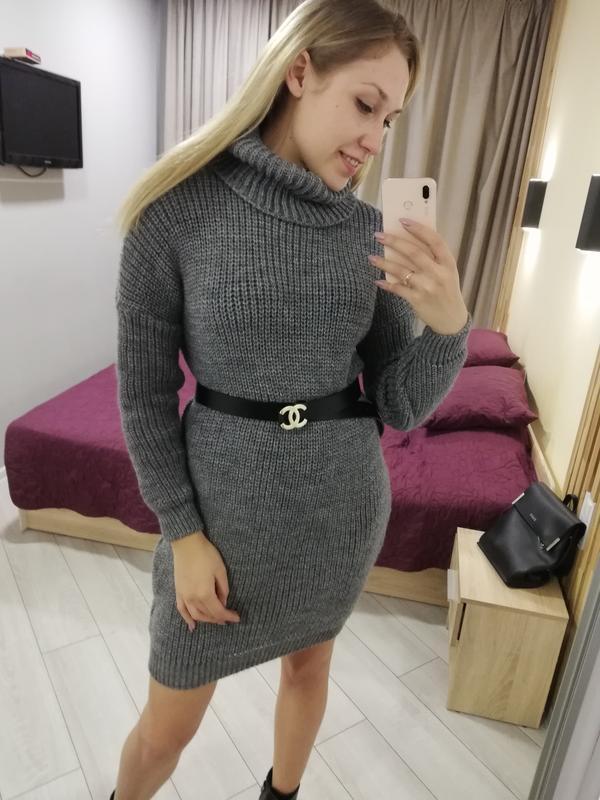 204599 платье туника, вязаное платье, вязаная туника, зимняя т...