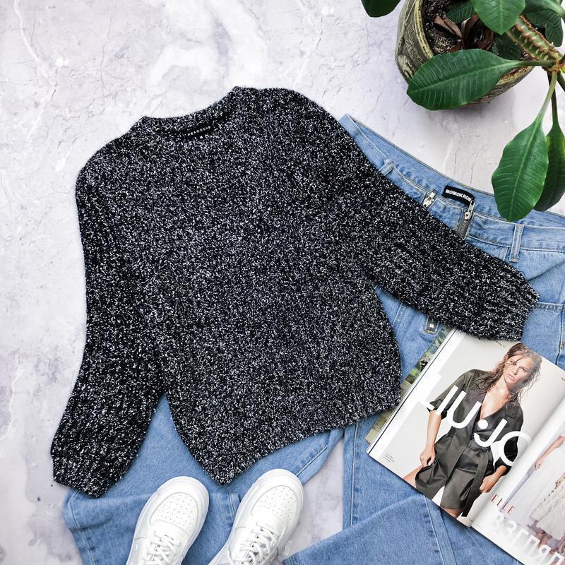 Теплый плюшевый свитер с люрексом