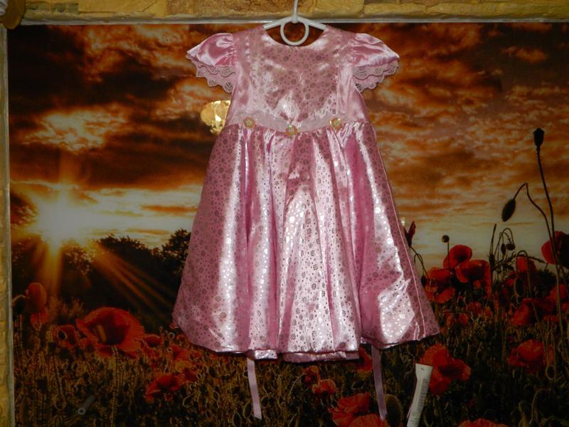 Платье детское новое розовое с блестящими серебристыми мелкими цв - Фото 2